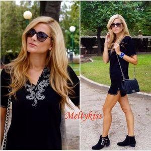 NWT ZARA BLACK SOFT SUEDE EFFECT STUD TUNIC DRESS